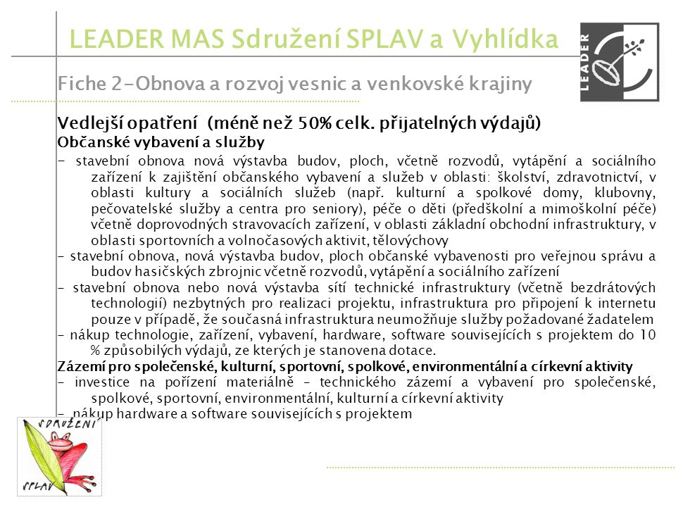 LEADER MAS Sdružení SPLAV a Vyhlídka