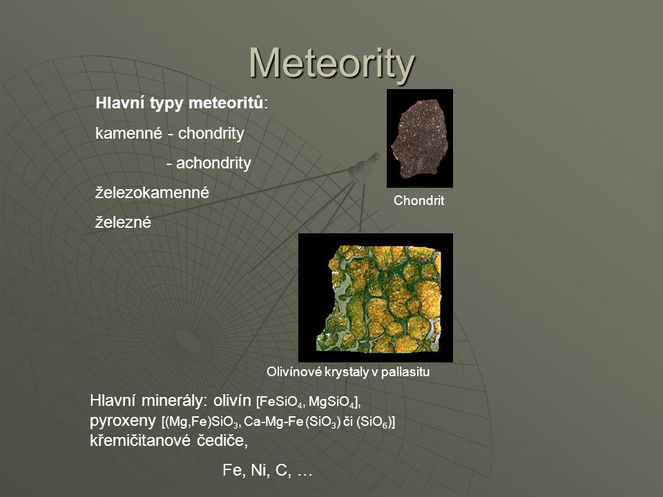 Meteority Hlavní typy meteoritů: kamenné - chondrity - achondrity