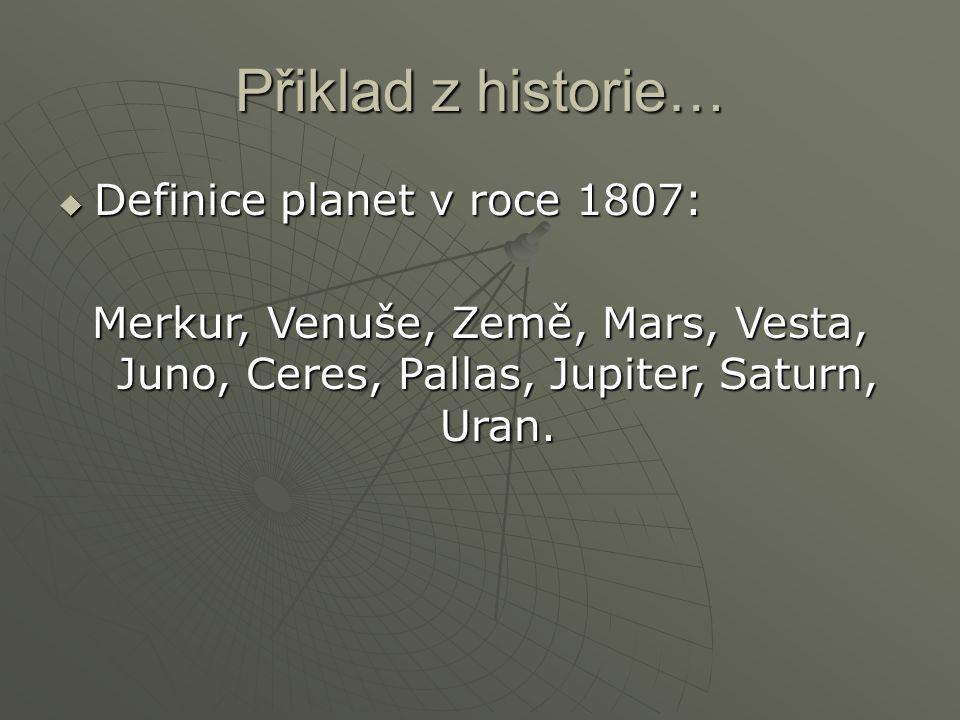Přiklad z historie… Definice planet v roce 1807: