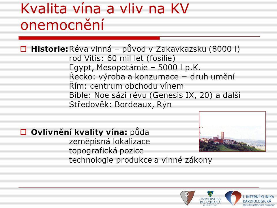 Kvalita vína a vliv na KV onemocnění