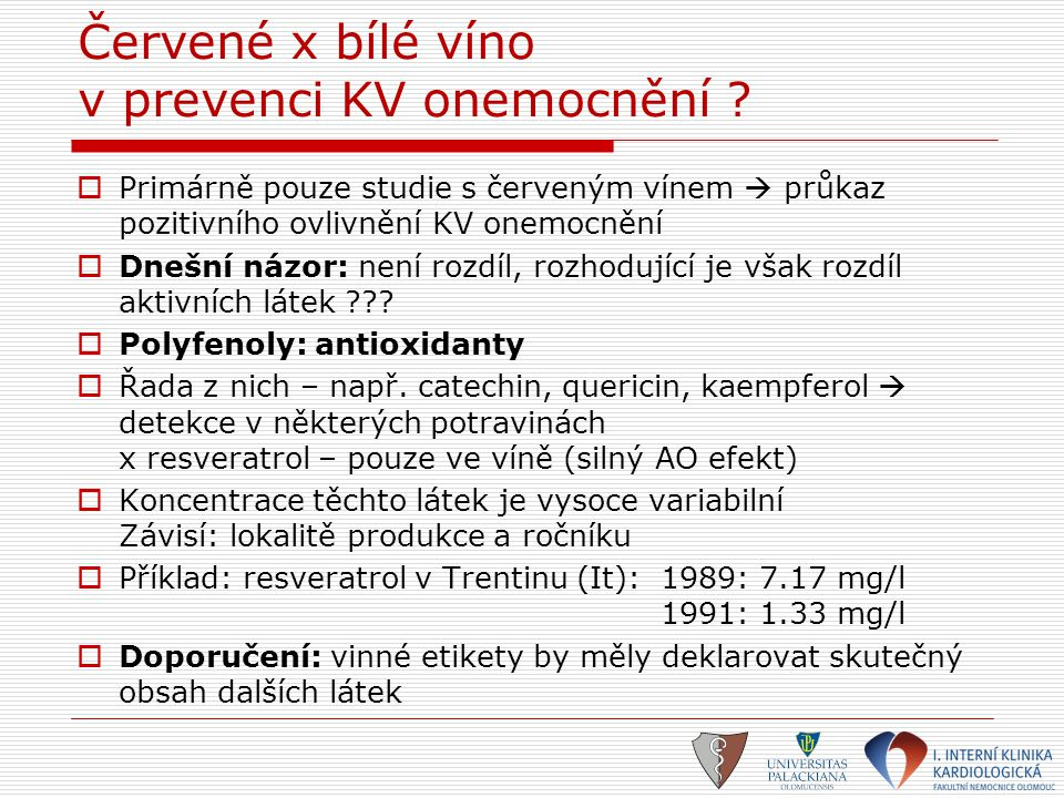 Červené x bílé víno v prevenci KV onemocnění