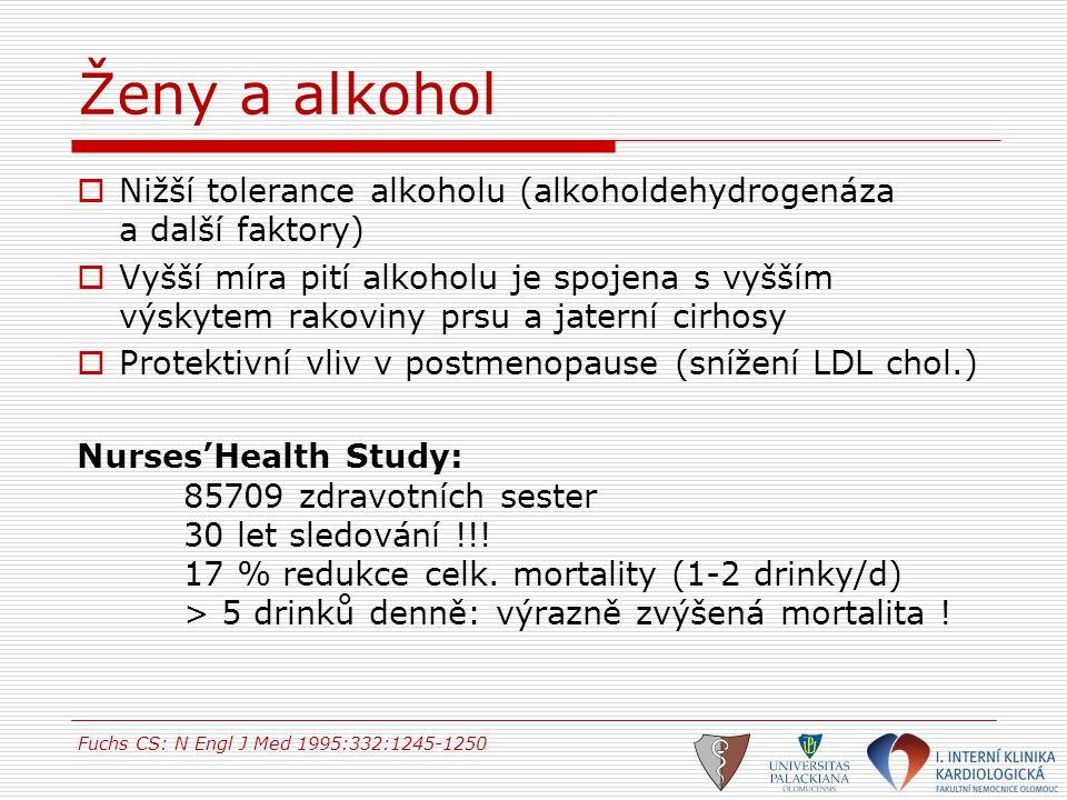 Ženy a alkohol Nižší tolerance alkoholu (alkoholdehydrogenáza a další faktory)