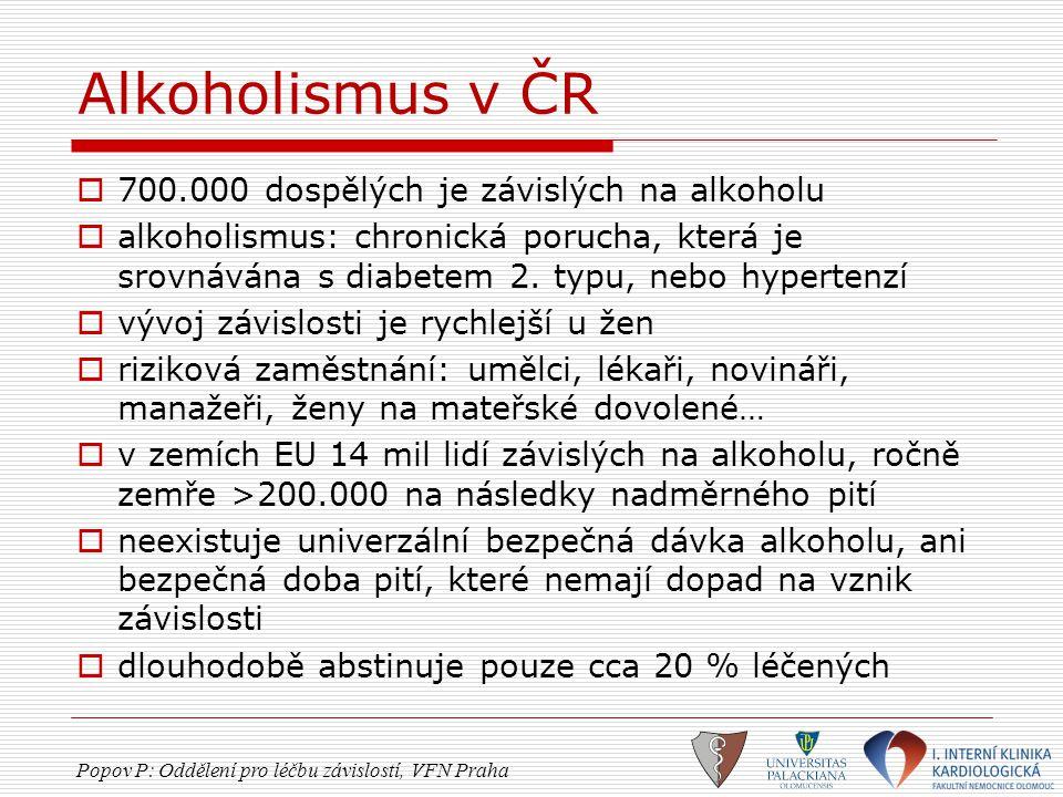Alkoholismus v ČR 700.000 dospělých je závislých na alkoholu