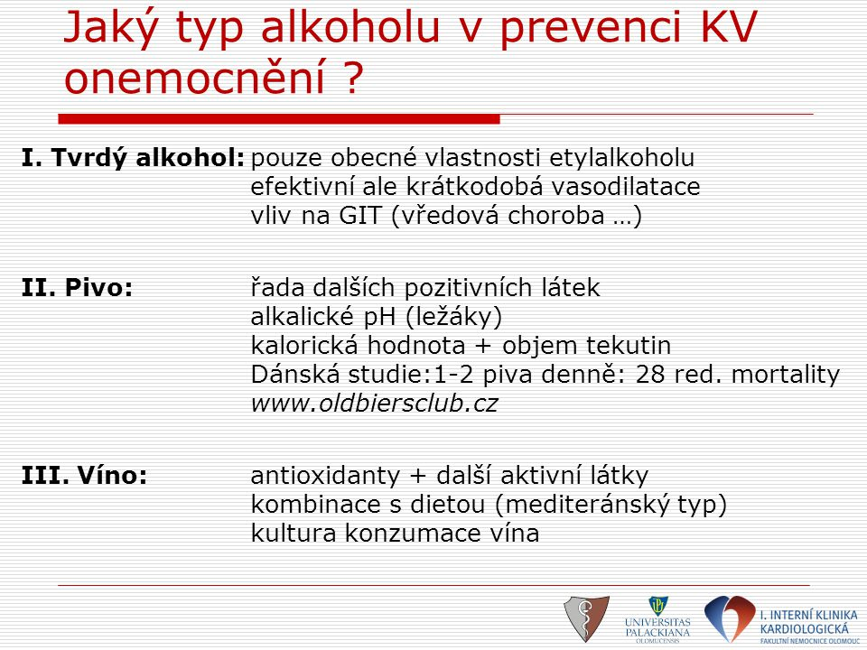 Jaký typ alkoholu v prevenci KV onemocnění