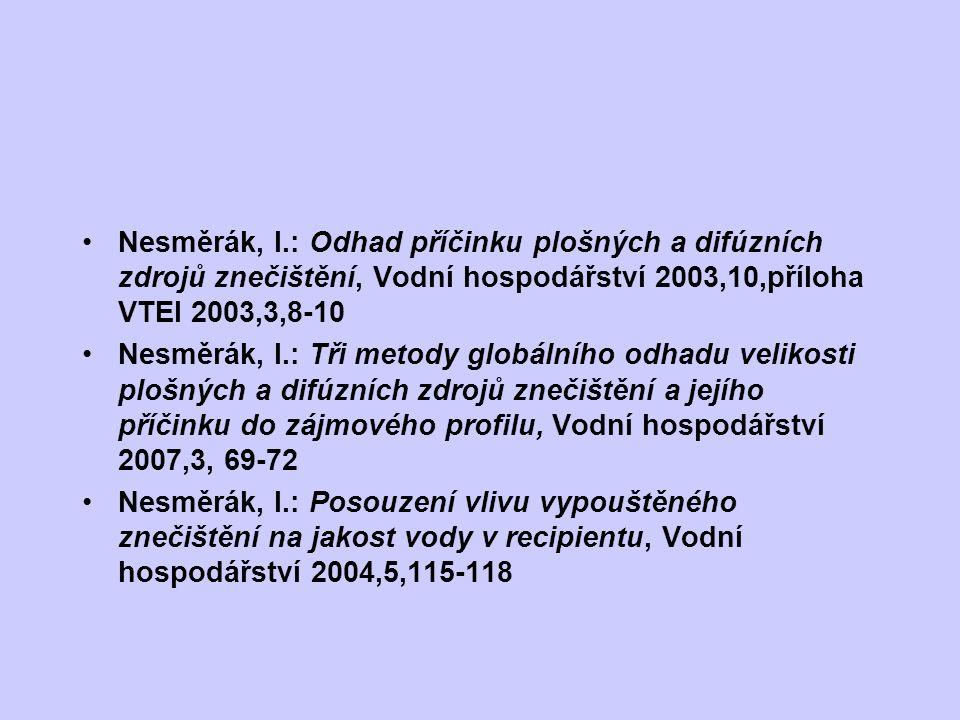 Nesměrák, I.: Odhad příčinku plošných a difúzních zdrojů znečištění, Vodní hospodářství 2003,10,příloha VTEI 2003,3,8-10