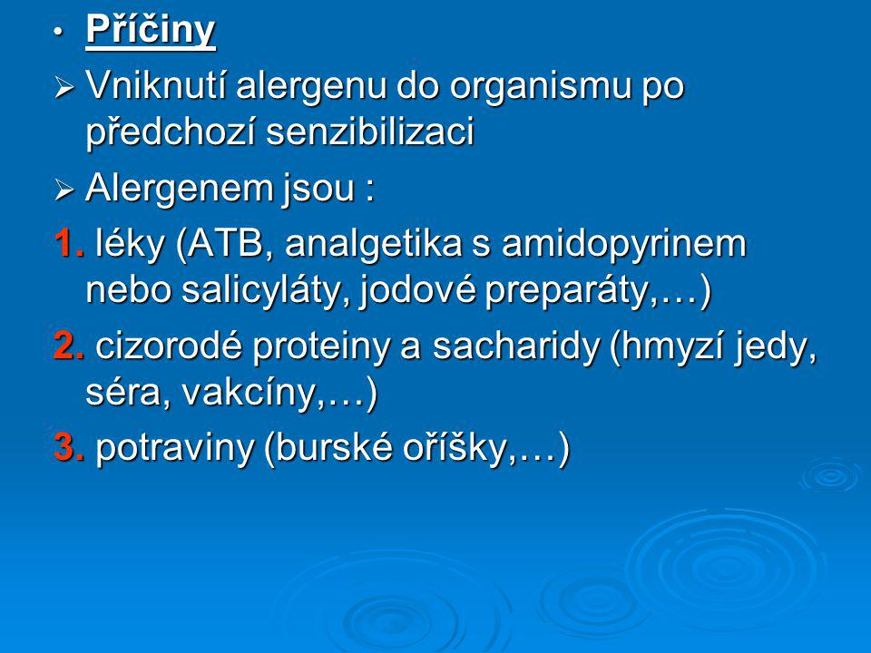 Příčiny Vniknutí alergenu do organismu po předchozí senzibilizaci. Alergenem jsou :