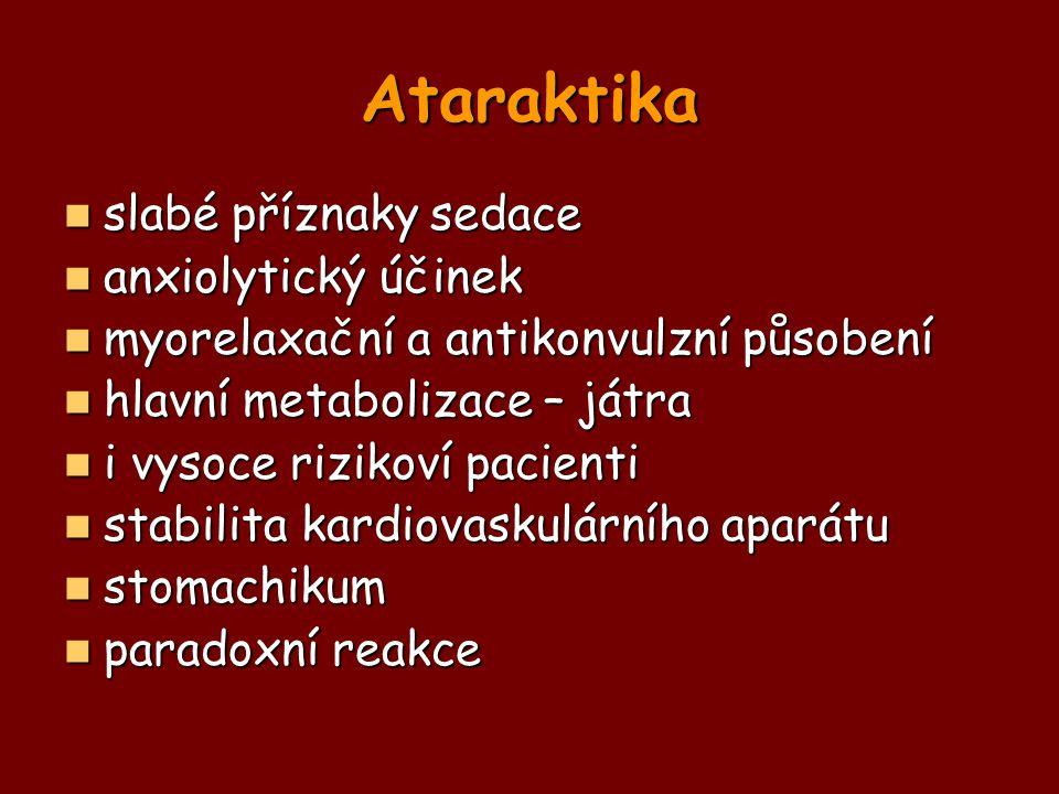 Ataraktika slabé příznaky sedace anxiolytický účinek