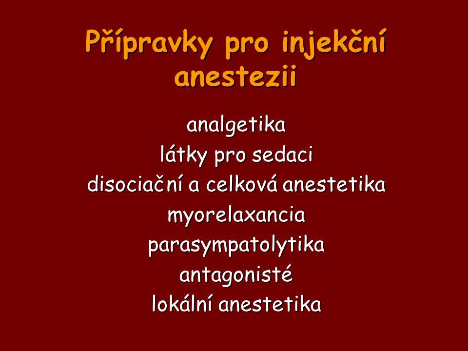 Přípravky pro injekční anestezii