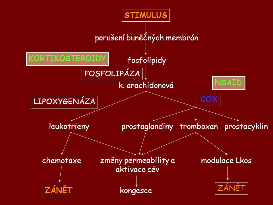 STIMULUS KORTIKOSTEROIDY ZÁNĚT NSAID COX
