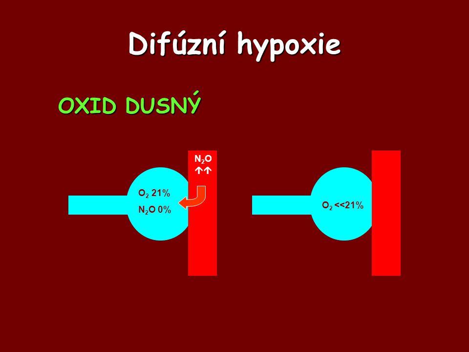 Difúzní hypoxie OXID DUSNÝ O2 21% N2O 0% N2O  O2 <<21%