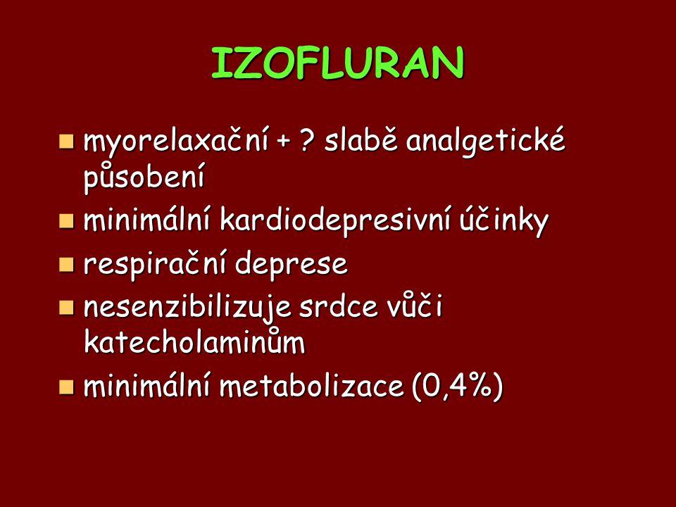 IZOFLURAN myorelaxační + slabě analgetické působení