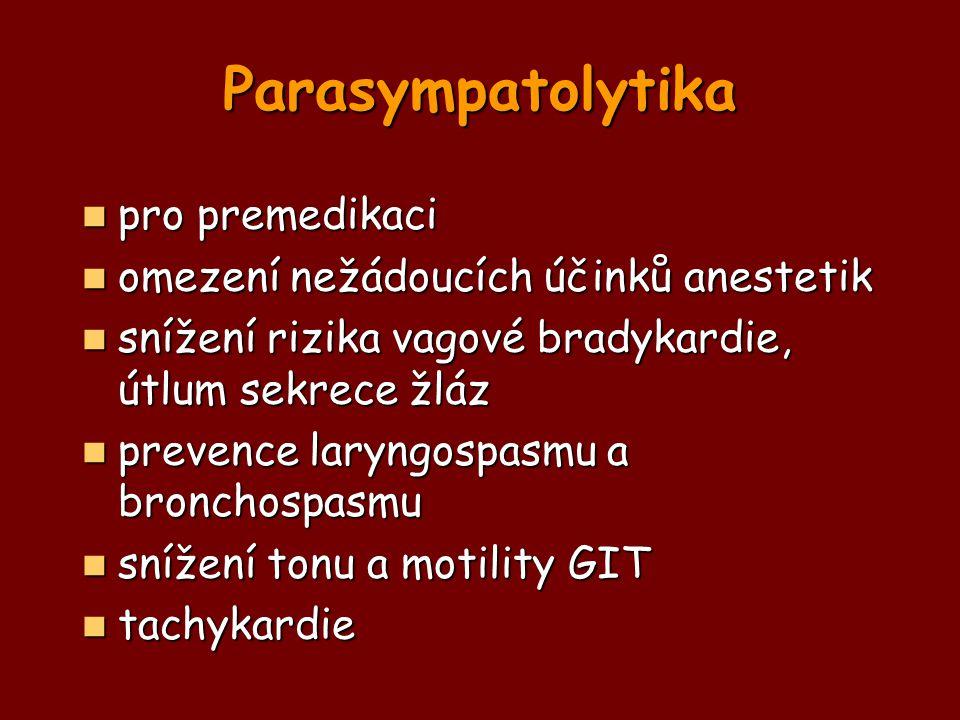 Parasympatolytika pro premedikaci omezení nežádoucích účinků anestetik