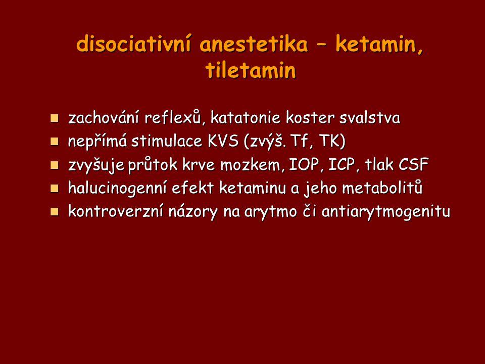 disociativní anestetika – ketamin, tiletamin