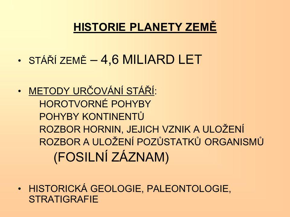 (FOSILNÍ ZÁZNAM) HISTORIE PLANETY ZEMĚ STÁŘÍ ZEMĚ – 4,6 MILIARD LET