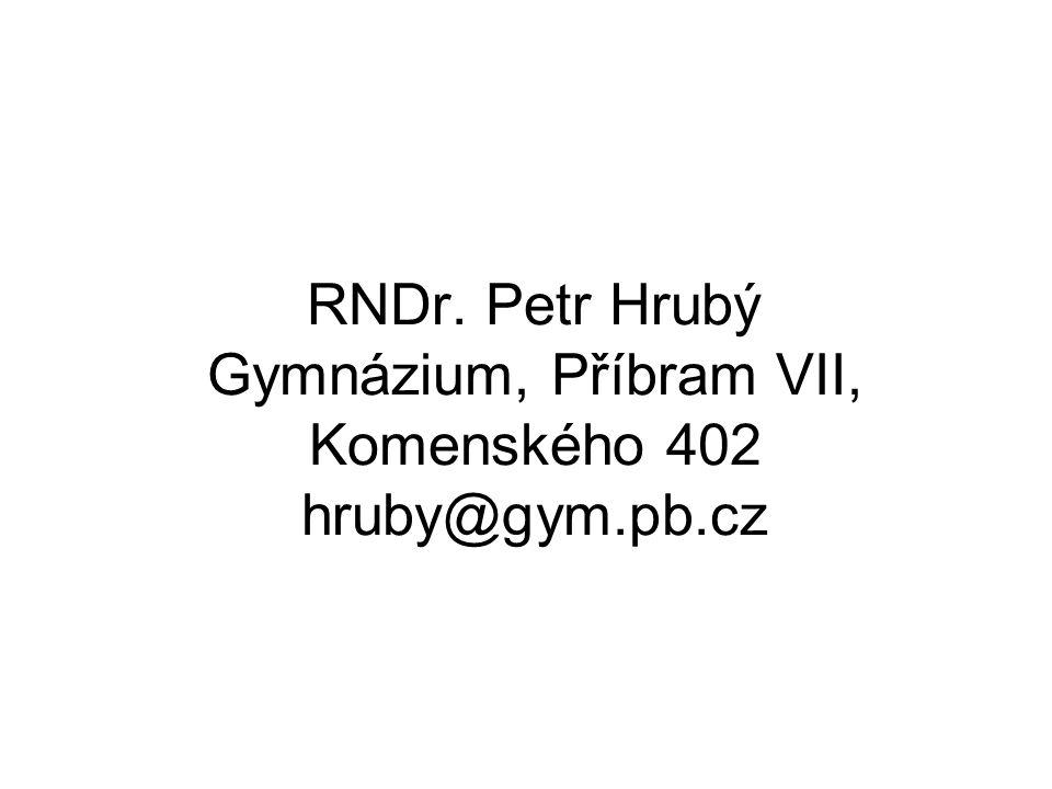 RNDr. Petr Hrubý Gymnázium, Příbram VII, Komenského 402 hruby@gym. pb