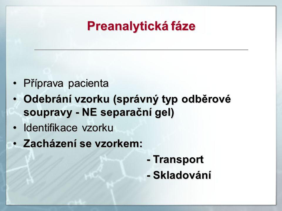 Preanalytická fáze Příprava pacienta