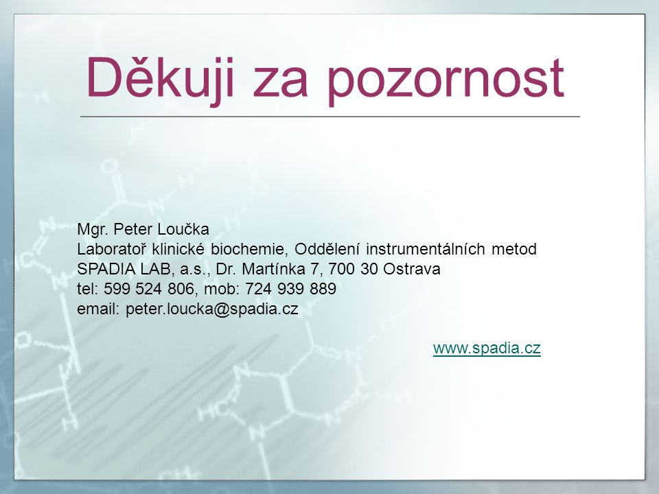 Děkuji za pozornost Mgr. Peter Loučka
