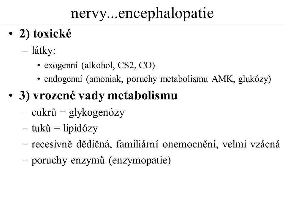 nervy...encephalopatie 2) toxické 3) vrozené vady metabolismu látky: