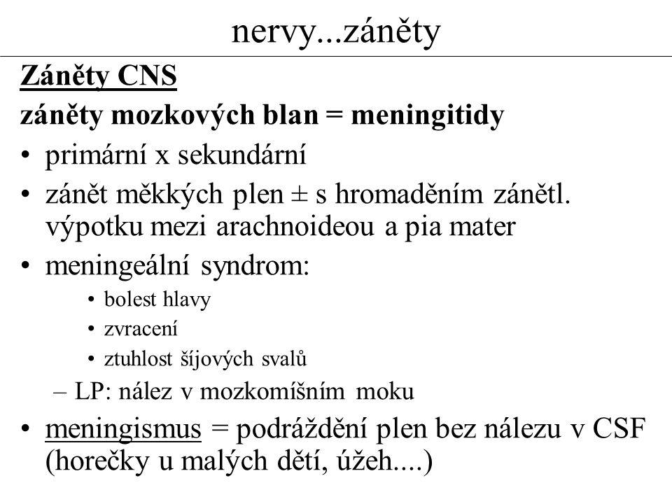 nervy...záněty Záněty CNS záněty mozkových blan = meningitidy
