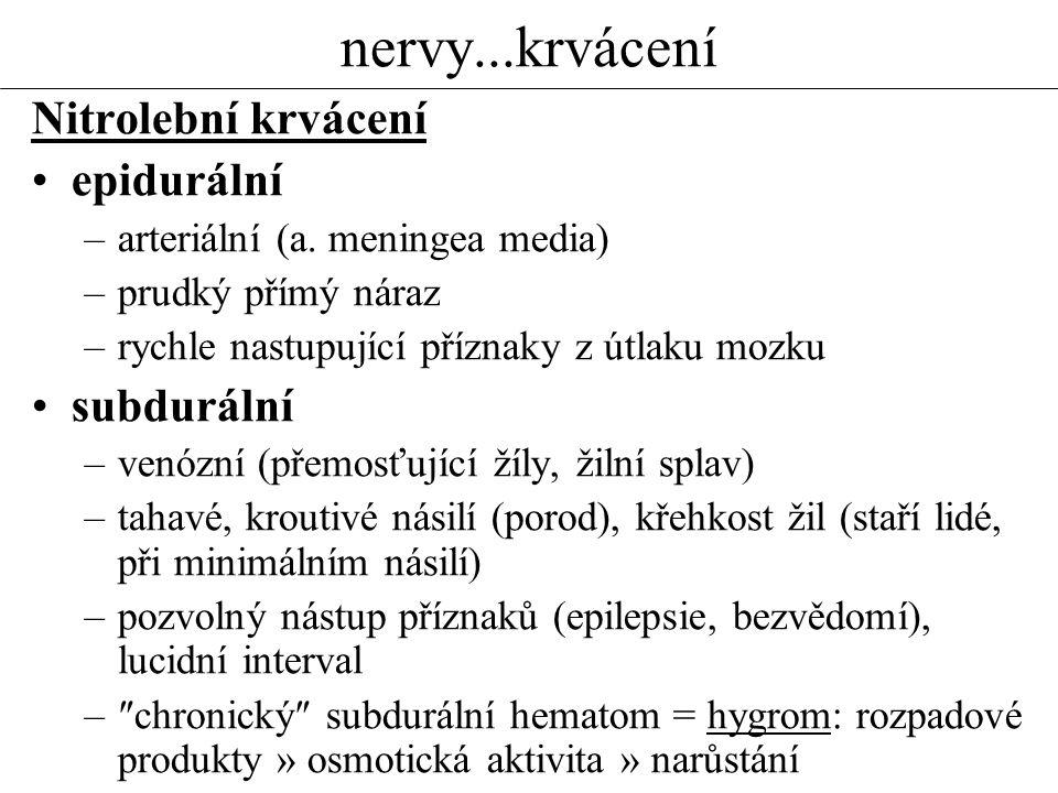 nervy...krvácení Nitrolební krvácení epidurální subdurální