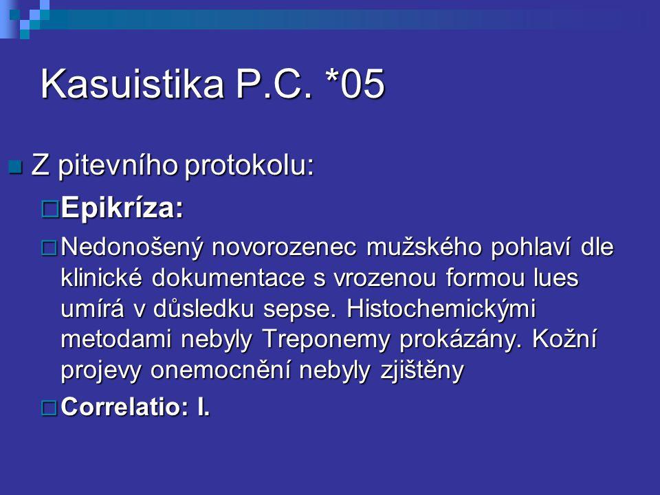 Kasuistika P.C. *05 Z pitevního protokolu: Epikríza: