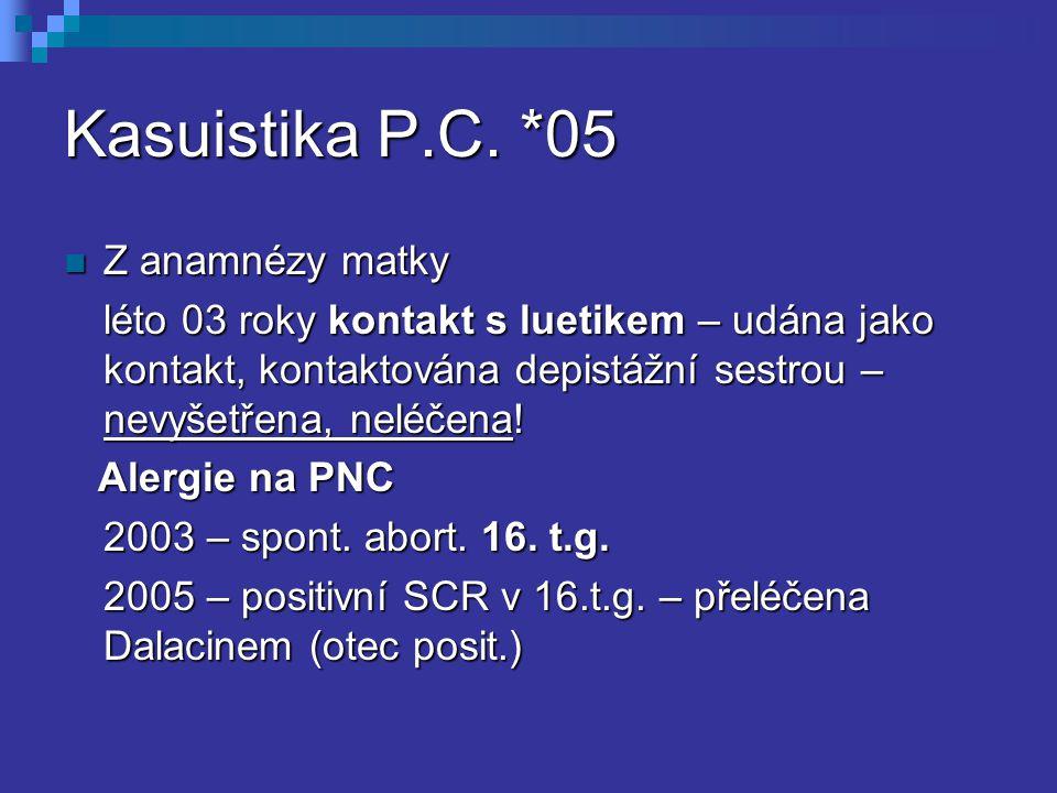 Kasuistika P.C. *05 Z anamnézy matky