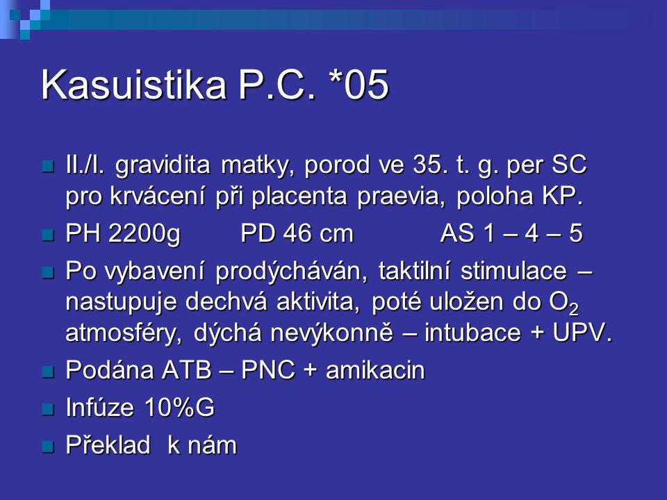 Kasuistika P.C. *05 II./I. gravidita matky, porod ve 35. t. g. per SC pro krvácení při placenta praevia, poloha KP.