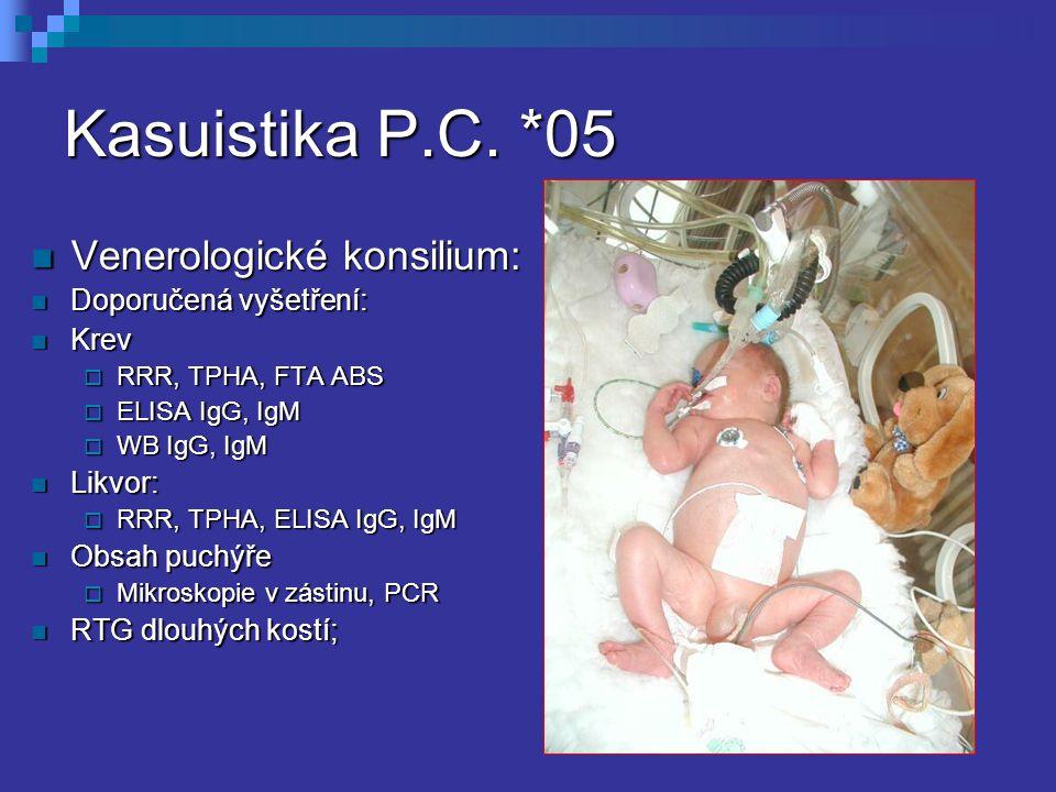 Kasuistika P.C. *05 Venerologické konsilium: Doporučená vyšetření: