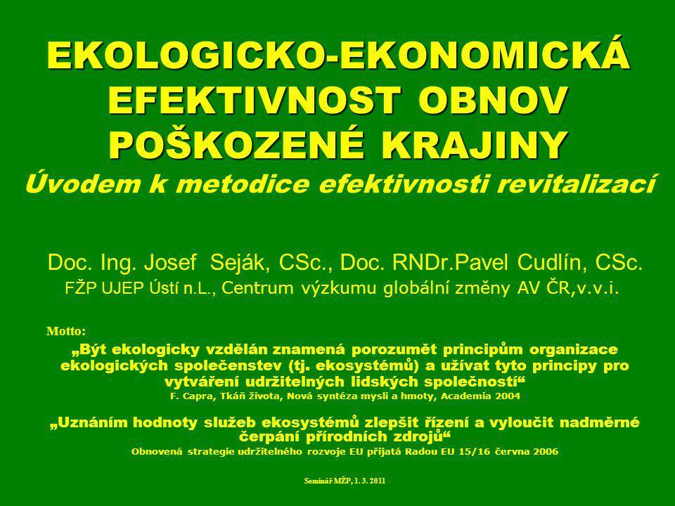 EKOLOGICKO-EKONOMICKÁ EFEKTIVNOST OBNOV POŠKOZENÉ KRAJINY Úvodem k metodice efektivnosti revitalizací