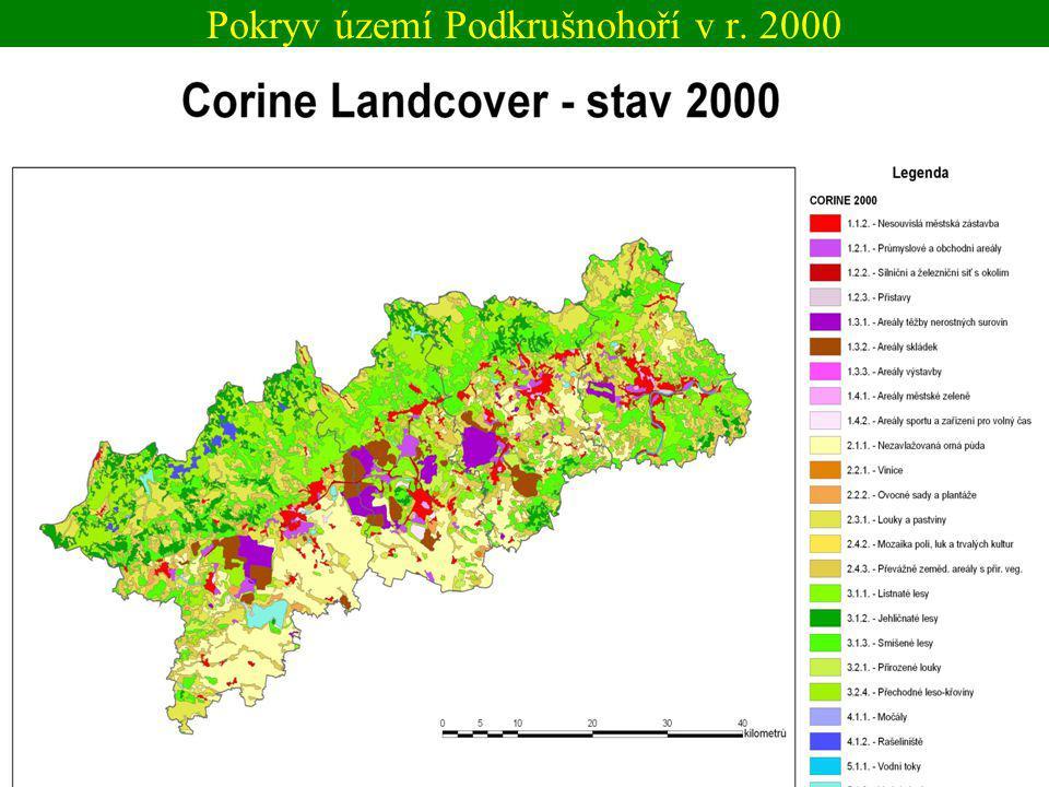 Pokryv území Podkrušnohoří v r. 2000