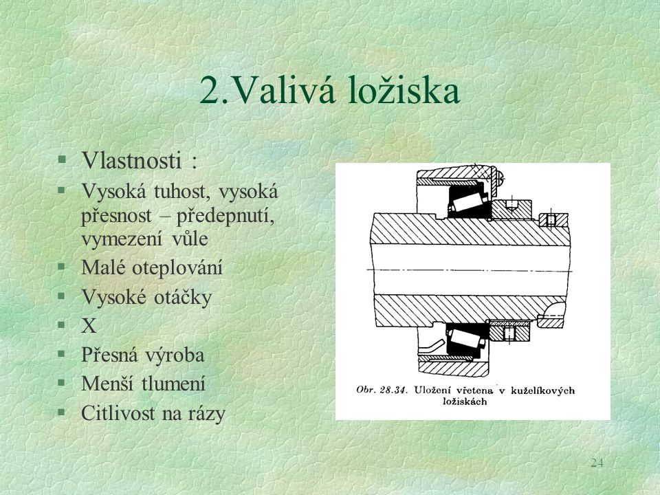 2.Valivá ložiska Vlastnosti :