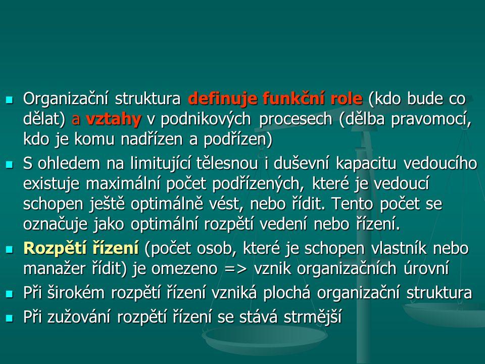Organizační struktura definuje funkční role (kdo bude co dělat) a vztahy v podnikových procesech (dělba pravomocí, kdo je komu nadřízen a podřízen)