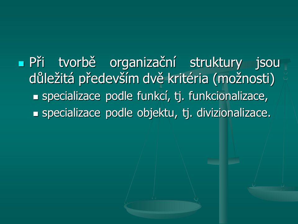 Při tvorbě organizační struktury jsou důležitá především dvě kritéria (možnosti)