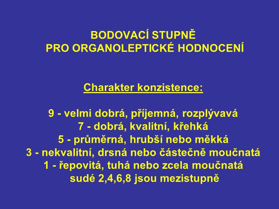BODOVACÍ STUPNĚ PRO ORGANOLEPTICKÉ HODNOCENÍ Charakter konzistence: 9 - velmi dobrá, příjemná, rozplývavá 7 - dobrá, kvalitní, křehká 5 - průměrná, hrubší nebo měkká 3 - nekvalitní, drsná nebo částečně moučnatá 1 - řepovitá, tuhá nebo zcela moučnatá sudé 2,4,6,8 jsou mezistupně