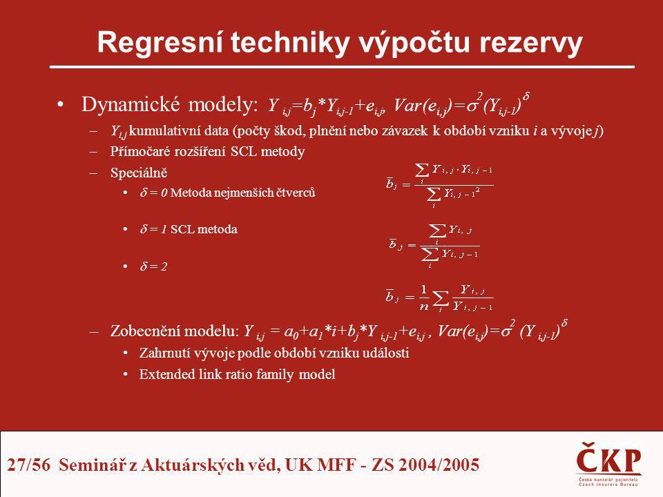 Regresní techniky výpočtu rezervy