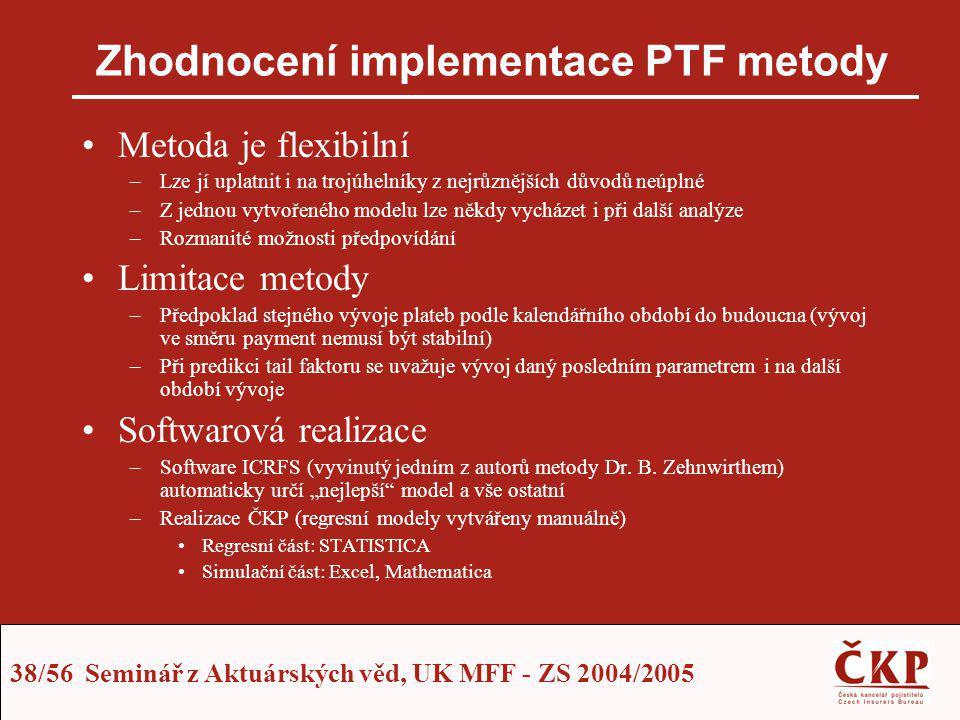 Zhodnocení implementace PTF metody