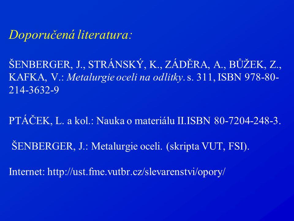 Doporučená literatura: ŠENBERGER, J. , STRÁNSKÝ, K. , ZÁDĚRA, A