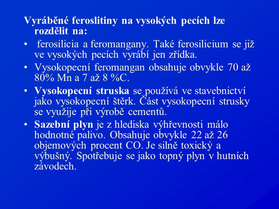 Vyráběné feroslitiny na vysokých pecích lze rozdělit na: