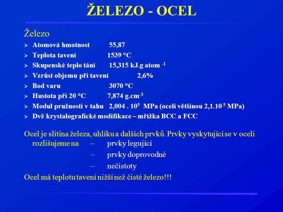 ŽELEZO - OCEL Železo. Atomová hmotnost 55,87. Teplota tavení 1539 °C. Skupenské teplo tání 15,315 kJ.g atom -1.
