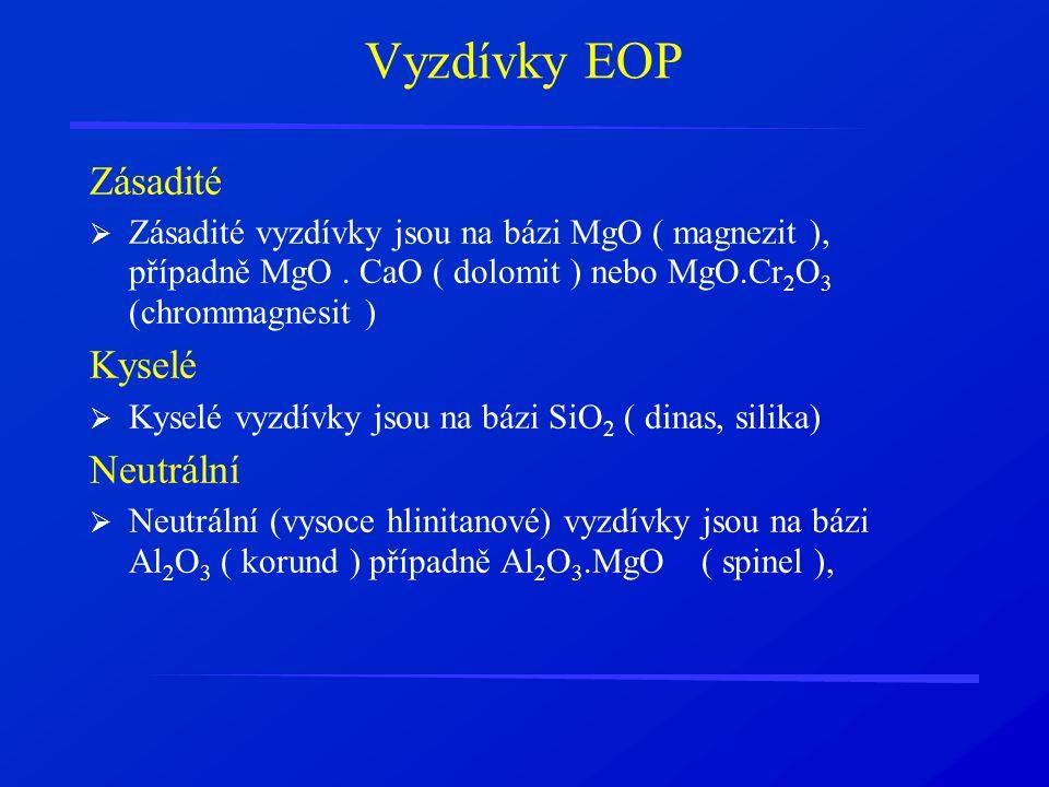 Vyzdívky EOP Zásadité Kyselé Neutrální