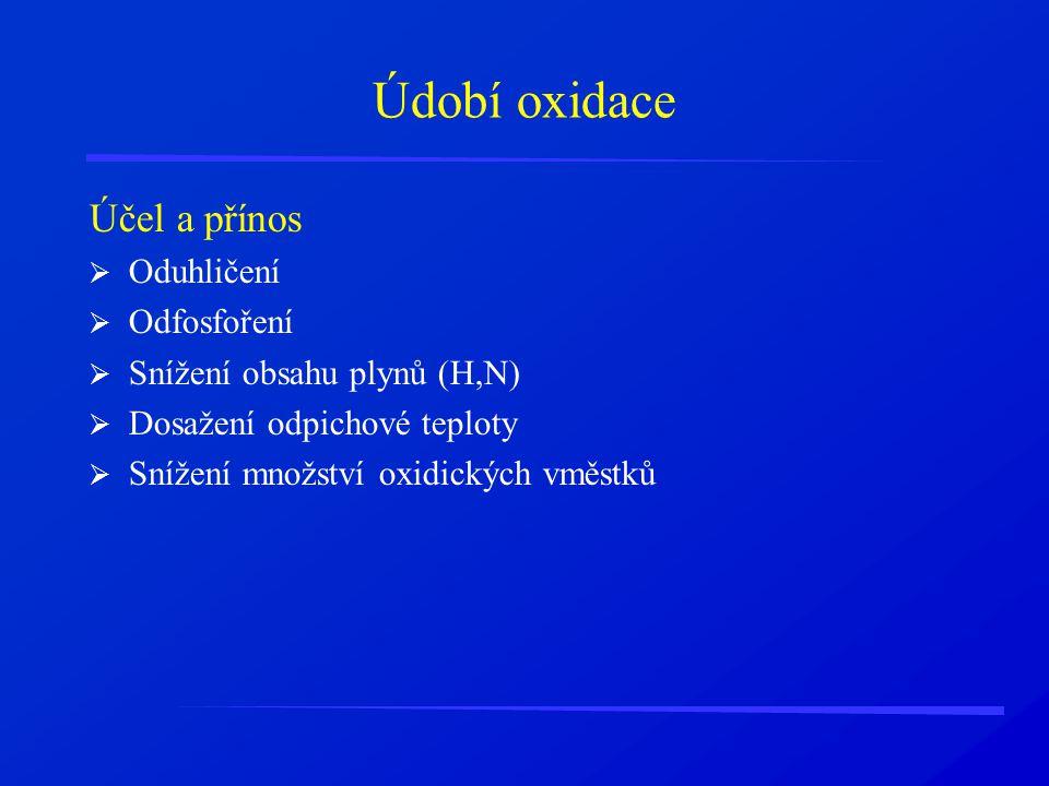 Údobí oxidace Účel a přínos Oduhličení Odfosfoření