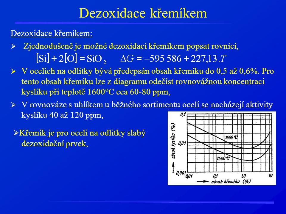Dezoxidace křemíkem Dezoxidace křemíkem: Zjednodušeně je možné dezoxidaci křemíkem popsat rovnicí,
