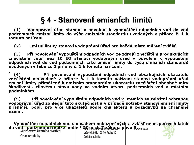 § 4 - Stanovení emisních limitů