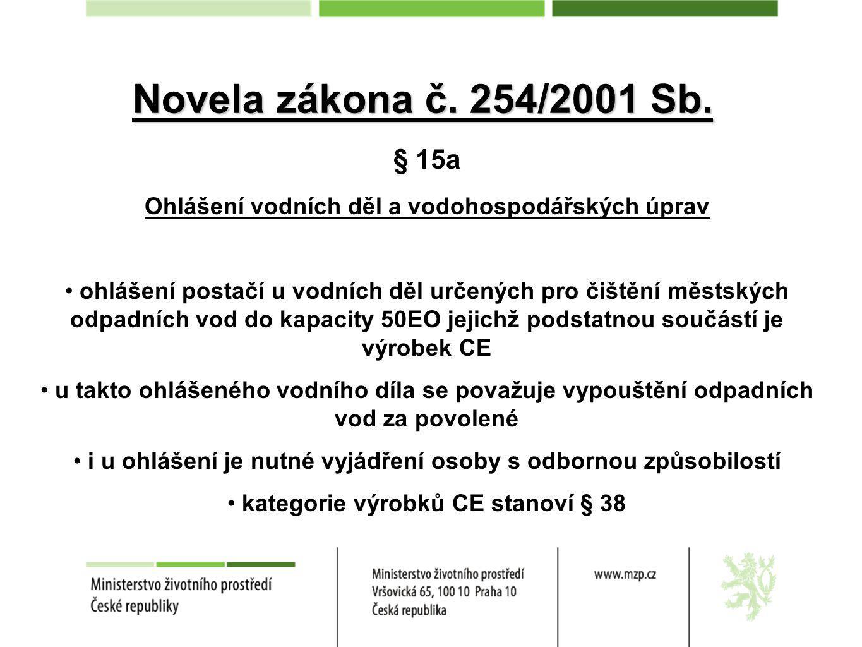 Novela zákona č. 254/2001 Sb. § 15a. Ohlášení vodních děl a vodohospodářských úprav.
