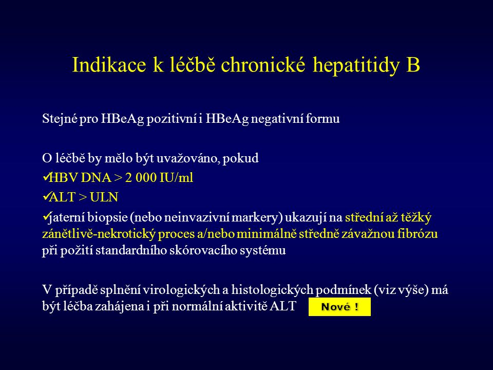 Indikace k léčbě chronické hepatitidy B
