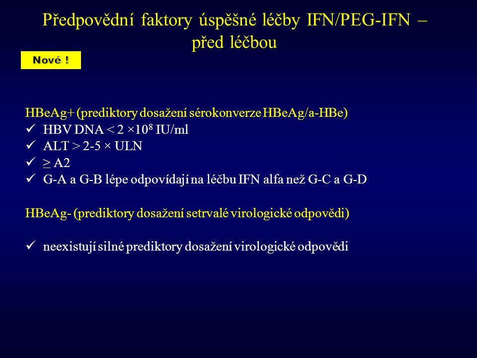Předpovědní faktory úspěšné léčby IFN/PEG-IFN – před léčbou