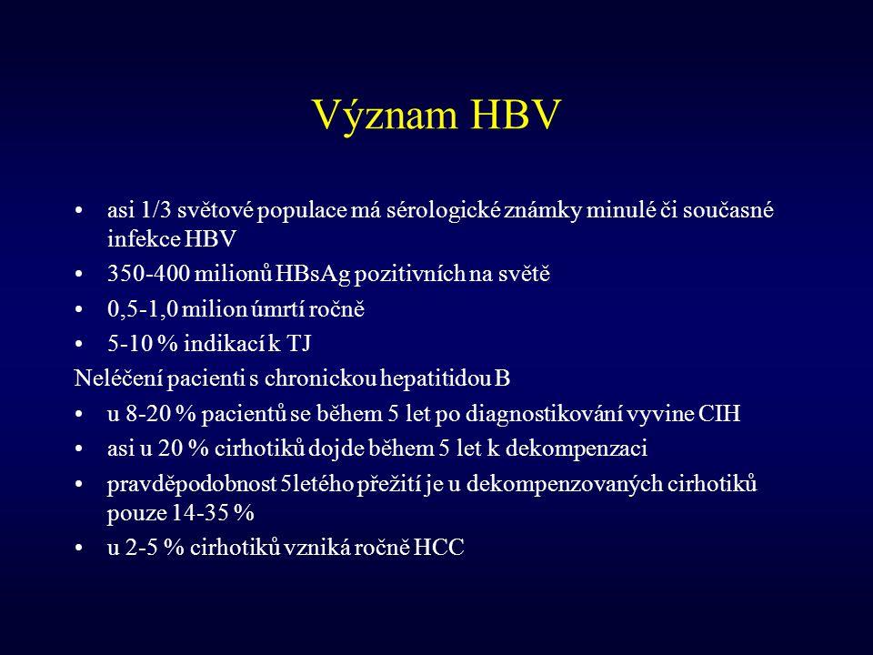 Význam HBV asi 1/3 světové populace má sérologické známky minulé či současné infekce HBV. 350-400 milionů HBsAg pozitivních na světě.