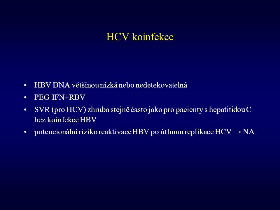 HCV koinfekce HBV DNA většinou nízká nebo nedetekovatelná PEG-IFN+RBV