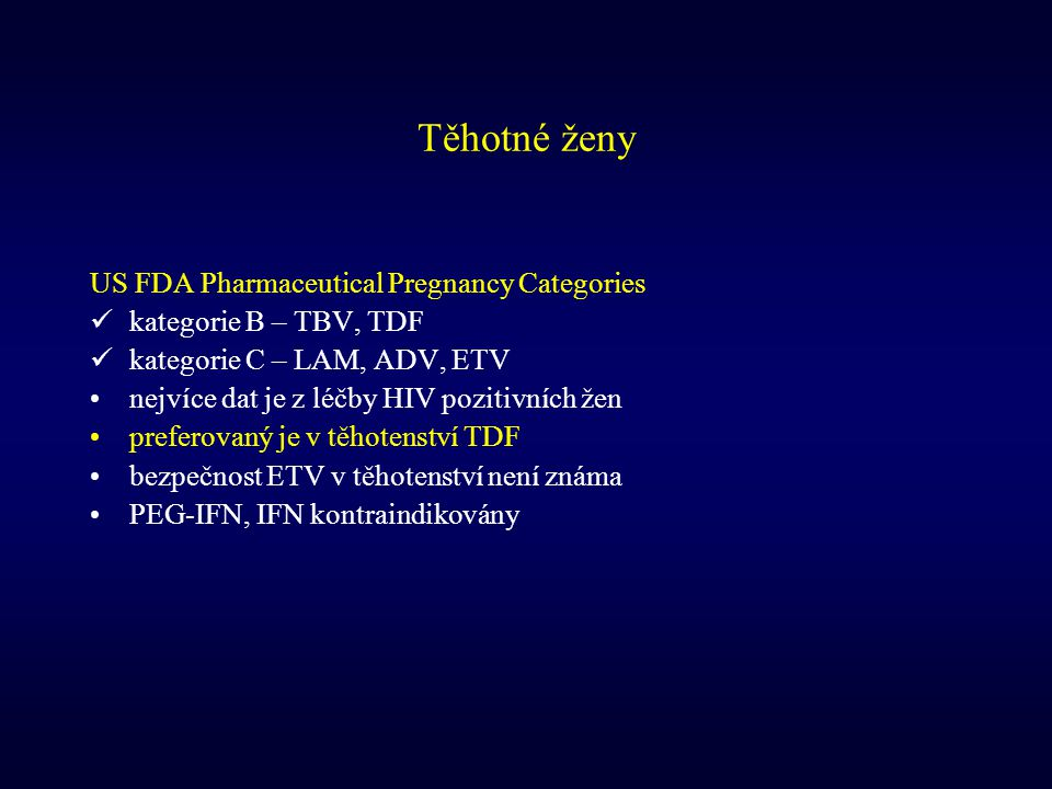Těhotné ženy US FDA Pharmaceutical Pregnancy Categories