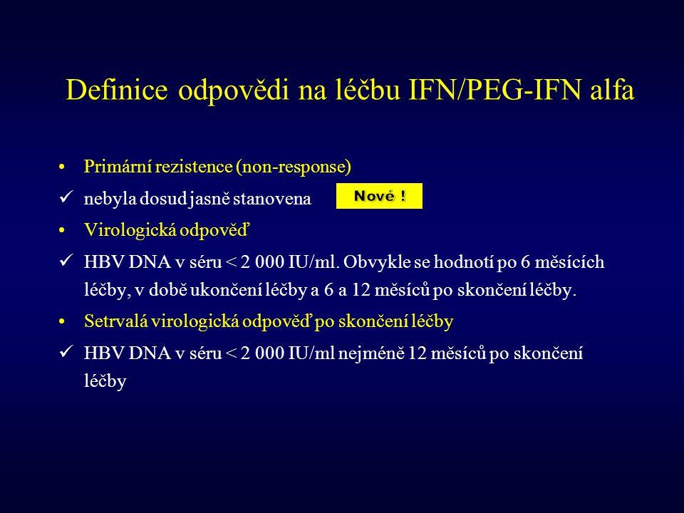 Definice odpovědi na léčbu IFN/PEG-IFN alfa